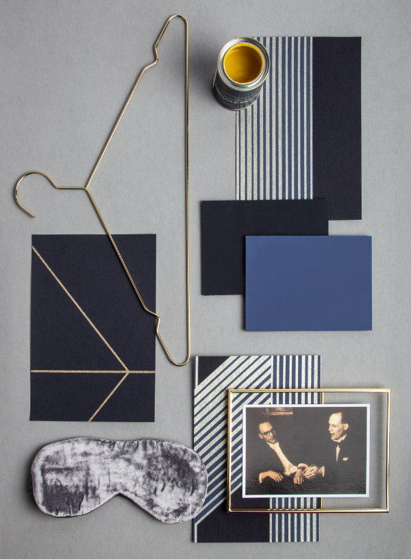 Graham & Brown behang Lagom Navy Gold Flat Lay (Foto Graham & Brown  op DroomHome.nl)