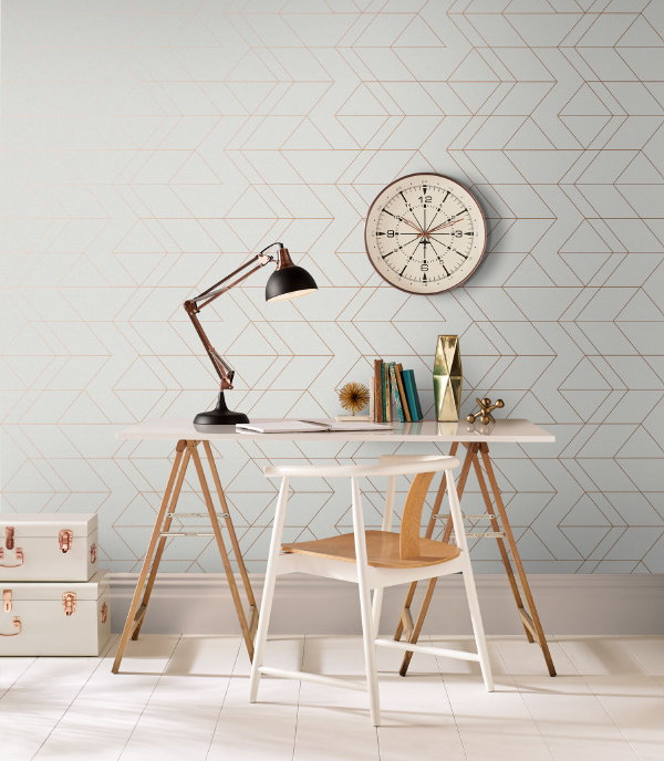 Graham & Brown behang Lagom White Rose Gold (Foto Graham & Brown  op DroomHome.nl)