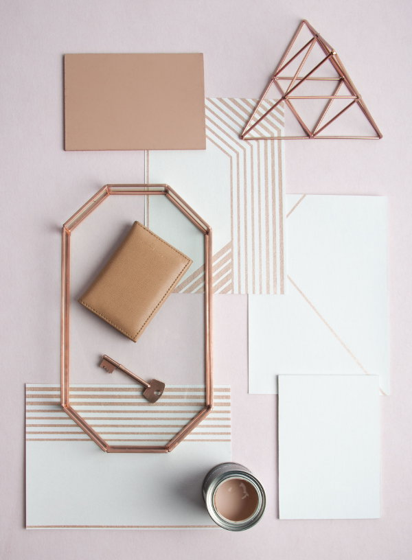 Graham & Brown behang Lagom White Rose Gold Flat Lay (Foto Graham & Brown  op DroomHome.nl)