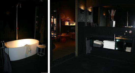 Schuifdeuren zwart woonkamer - Donker mozaieken badkamer ...