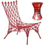 Knotted Chair van Marcel Wanders (Droog Design) & Red Kartell Stone Stool & Kruk DroomHome.nl