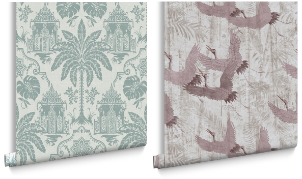 Graham & Brown behang collectie Imperial – Imperial green & crane pink behang (Foto Graham & Brown wallpaper  op DroomHome.nl)