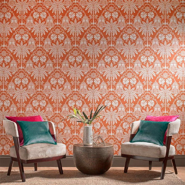 Graham & Brown behang collectie Imperial – Imperial orange wallpaper – MEER Graham & Brown behang… (Foto Graham & Brown  op DroomHome.nl)