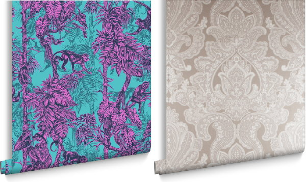 Luxe Graham & Brown behang collectie Ubud Mayhem en Souk Cardamon Damask (Foto Graham & Brown wallpaper  op DroomHome.nl)