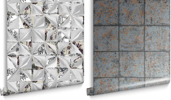 Luxe Graham & Brown behang collectie Oxidised Tile Rust en Origami (Foto Graham & Brown wallpaper  op DroomHome.nl)
