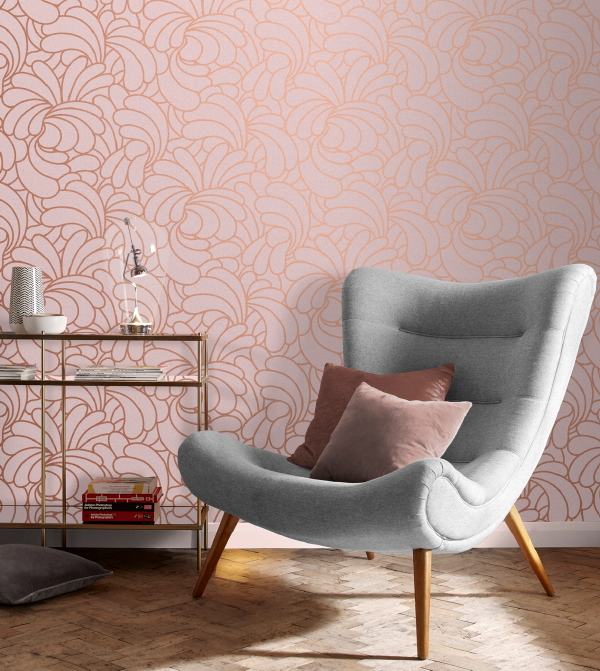 Graham & Brown behang, design Barbara Hulanicki – behang Bananas Copper Blush – MEER Behang inspiratie… (Foto Graham & Brown  op DroomHome.nl)