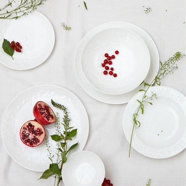 Wedgwood servies Wild Strawberry White wit servies (Foto Wedgwood  op DroomHome.nl)