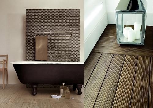 Badkamer met hout tegels badkamer tegels hout een houten vloer in de roomed - Badkamer tegel imitatie hout ...