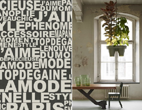 Werkplek & Kantoor Thuis: Kunst & design in Kantoor aan Huis? – Betaalbare Inrichting Kantoor Thuis Tips (Foto ELLE Magazine Behang van Graham & Brown en Botanic Bucket Light, Design Roderick Vos  op DroomHome.nl)