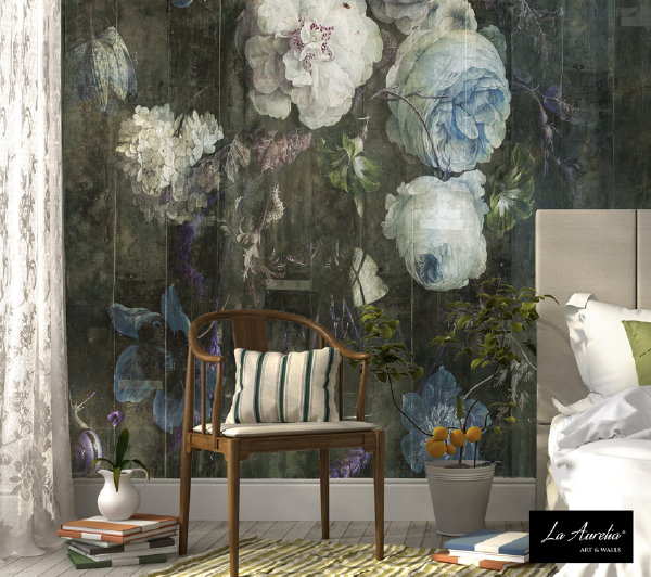 Behang Collectie van La Aurelia: Dutch Dreams – Bouquet Wallpaper – MEER Behang.. (Foto La Aurelia  op DroomHome.nl)