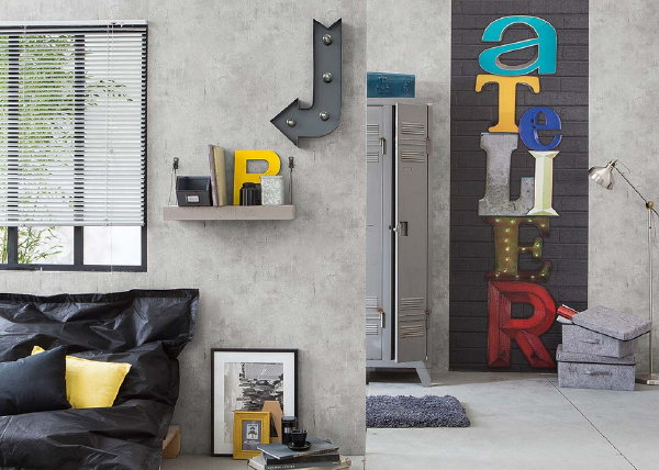 Behang Trends – Authentic Walls: Beton 'Loft' Behang.  (Foto AS Creation Wallpaper  op DroomHome.nl)
