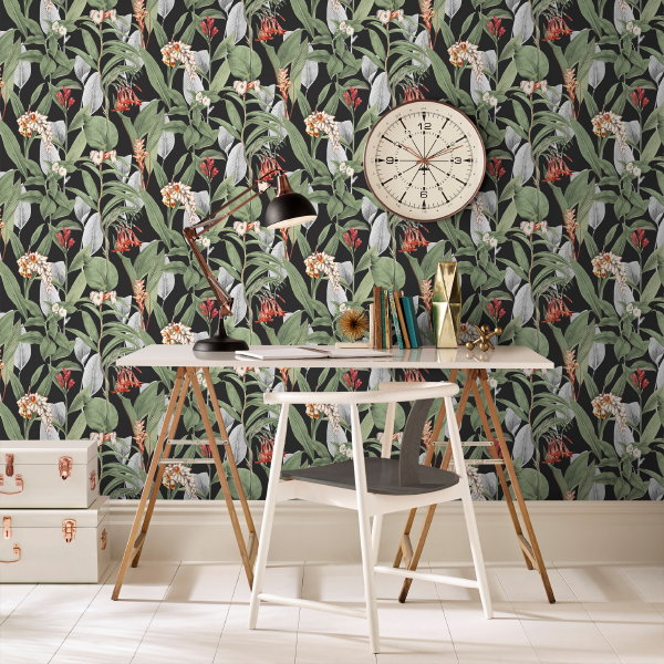 Behang Trend: Botanische Wanden – Graham & Brown Behang Botanical Black – MEER Behang Inspiratie… (Foto Graham & Brown Wallpaper  op DroomHome.nl)