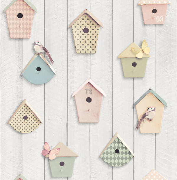 Pastel Behang in Soft Tones van Graham & Brown: Vogelhuisjes Behang. (Foto Graham & Brown Wallpaper  op DroomHome.nl)