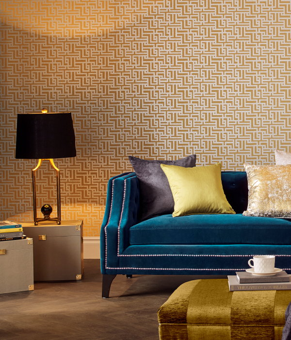 Behang Trends: Graham & Brown Behang Collectie Zen – Behang Saffron – MEER Behang Inspiratie.. (Foto Graham & Brown Wallpaper  op DroomHome.nl)