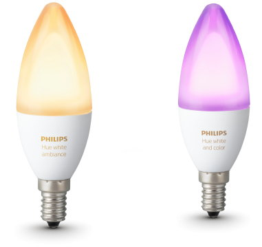 Philips Hue Candle – E14 Led Kaarslamp met Kleine Fitting voor Regelbare LED-Sfeerverlichting in White Ambiance & Color. (Foto Philips  op DroomHome.nl)